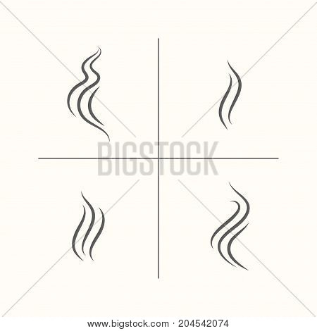 Smell aroma and heat sign set. Stock vector illustration of odor and scent or hot vapor silhouettes by 3 lines isolated on white background.