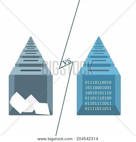 Blockchain online voting concept. Stock vector illustration of new computer technology for elections.