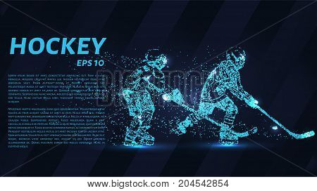A Hockey Game Consists Of Points. Particles In The Form Of A Hockey Player On A Dark Background. Vec