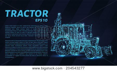 The Tractor Which Consists Of Points. Particles In The Form Of A Tractor On A Dark Background. Vecto