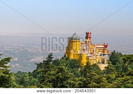 Sintra Pena Palace viewed from the top of the montain