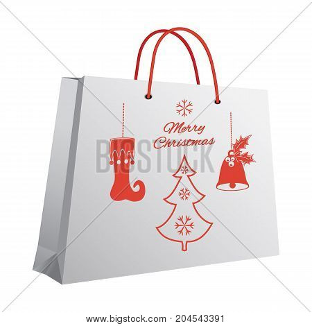 Christmas shopping bag with a printed pattern of red pendants: stocking, bell with holly, fir-tree, a congratulatory inscription. Vector illustration.