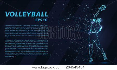 Volleyball, Particle Divergent Composition, Vector Illustration. Silhouette Of A Volleyball From Par