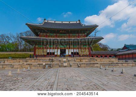 Seoul South Korea--April 6 2016 --Gyeongbokgung Palace in the Changdeokgung Palace Complex in South Korea. Editorial Use Only.
