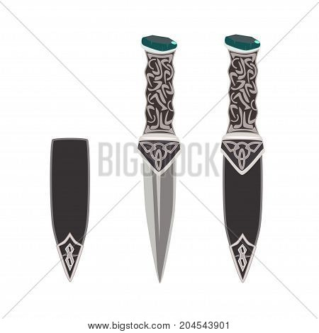 Vector illustration of sgian dubh or black knife worn as part of traditional scottish highland dress. Flat style design.