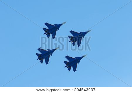 ROSTOV-ON-DON, RUSSIA - SEPTEMBER 3, 2017: An Russia Air Force Su-30 Flanker fighter aircraft of Russian Knights