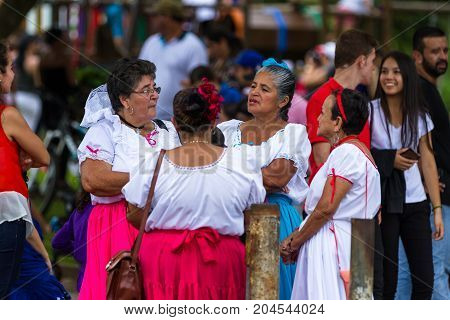 Tilaran Costa Rica - September 15 : ladies meeting in the town square celebrating Independence Day. September 15 2017 Tilaran Costa Rica.