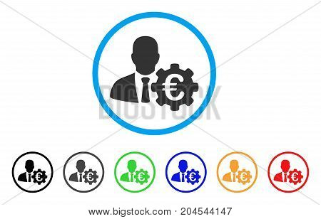 Euro Economist icon. Vector illustration style is a flat iconic euro economist grey rounded symbol inside light blue circle with black, gray, green, blue, red, orange color versions.