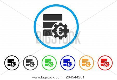Euro Financial Database Options icon. Vector illustration style is a flat iconic euro financial database options gray rounded symbol inside light blue circle with black, gray, green, blue, red,