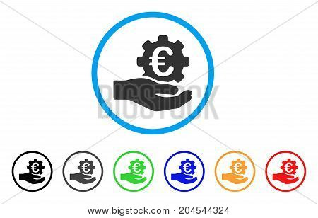 Euro Gear Service Hand icon. Vector illustration style is a flat iconic euro gear service hand grey rounded symbol inside light blue circle with black, gray, green, blue, red, orange color variants.