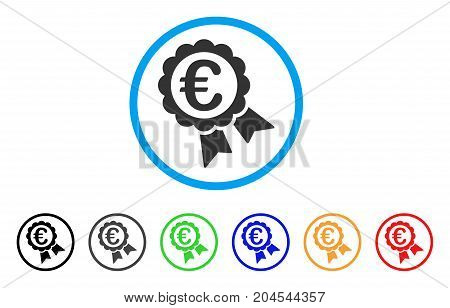 Euro Guarantee Seal icon. Vector illustration style is a flat iconic euro guarantee seal gray rounded symbol inside light blue circle with black, gray, green, blue, red,