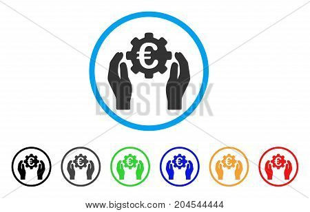 Euro Industry Care Hands icon. Vector illustration style is a flat iconic euro industry care hands gray rounded symbol inside light blue circle with black, gray, green, blue, red,