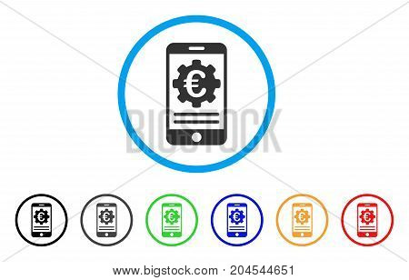 Euro Mobile Banking Configuration icon. Vector illustration style is a flat iconic euro mobile banking configuration grey rounded symbol inside light blue circle with black, gray, green, blue, red,