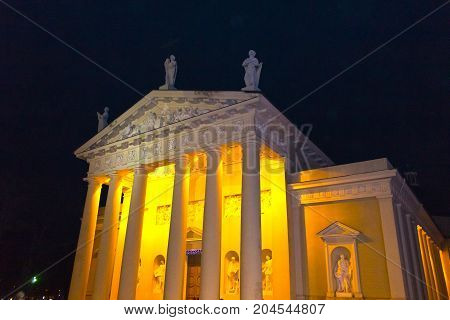 Cathedral in Cathedral square in the old town of Vilnius, Lithuania at night