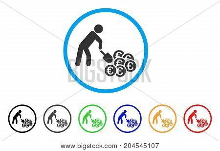 Person Mining Euro icon. Vector illustration style is a flat iconic person mining euro grey rounded symbol inside light blue circle with black, gray, green, blue, red, orange color versions.