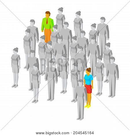 Alone in the crowd. One man and women drawn in color among gray people. Couple of people who can not find each other. Destiny concept. 3d isometric vector illustration, isolated on white background.