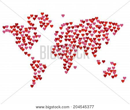 Map of the world created from red hearts. Isolated on white. Lot of love symbols, romantic concept. Design element for Valentines day card or poster.