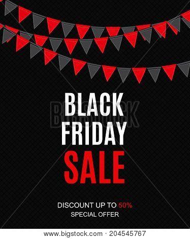 Black Friday Sale Inscription Banner Design Template. Vector illustration EPS10