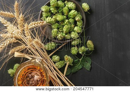 A Glass Of Beer, Production Ingredients. Fresh-picked Whole Hops