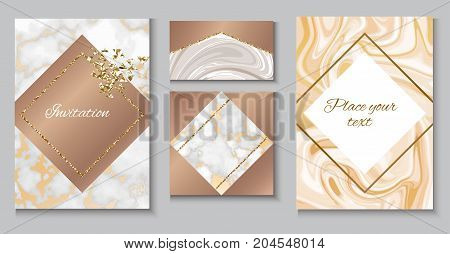 Marble brochure layout, wedding invitation set, business card template or background in trendy minimalistic geometric style, stone, granite, gold yellow texture, vector fashion wallpaper, poster