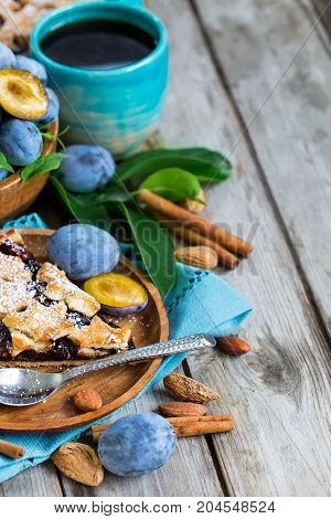 Plum Pie With Cinamon And Almonds Background