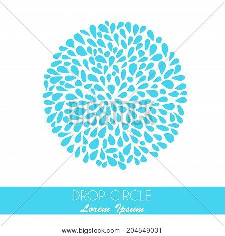 Small water drops forming a circle on white background. Stock vector illustration of blue splash and flow.