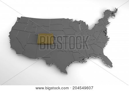 United states of America, 3d metallic map, whith colorado state highlighted. 3d render