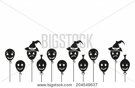 Halloween Black Balloons on white background. Vector Illustration. Simple Icon Vector. eps10.