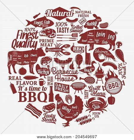 Vector Barbecue, Grill And Steak House Illustration
