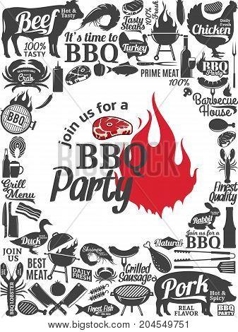 Vector Barbecue Party Invitation