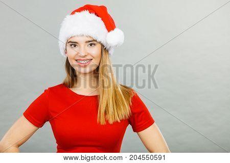 Positive Woman Wearing Santa Claus Helper Costume