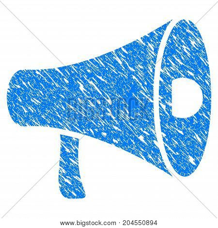 Grunge Megaphone icon with grunge design and scratched texture. Unclean vector blue megaphone pictogram for rubber seal stamp imitations and watermarks. Draft sticker symbol.