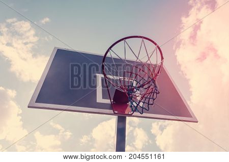 Basketball hoop and blue sky background basketball basket