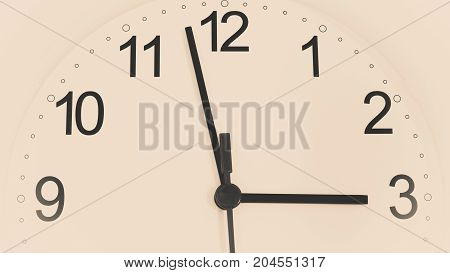 Closeup white clock ticking showing three hours. Time concept. Toned image