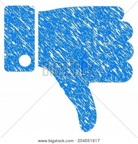 Grunge Thumb Down icon with grunge design and unclean texture. Unclean vector blue thumb down pictogram for rubber seal stamp imitations and watermarks. Draft sticker symbol.