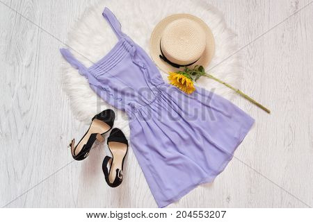 Lilac Dress, Shoes, Straw Hat And Sunflower. White Fur, Top View