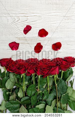 Red Roses And Petals On A Light Wooden Background, Top View