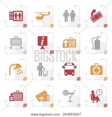 Stylized Airport, travel and transportation icons -  vector icon set 2