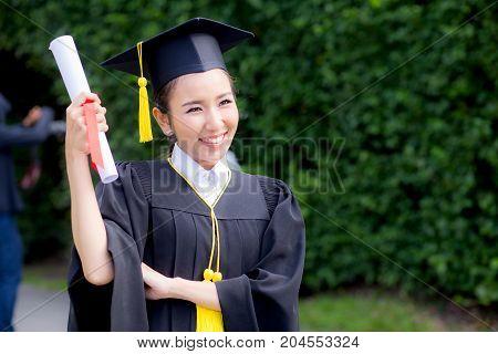 Happy Graduated Student Girl, Congratulations - Graduate Education Success - Concept Education.