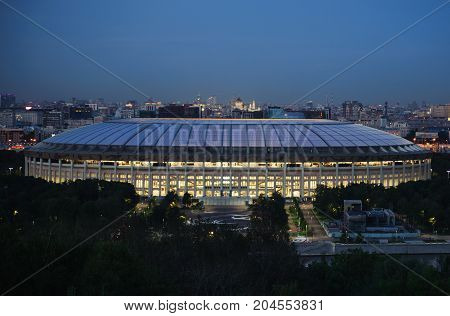 September 16 2017 Moscow Russia Stadium Luzhniki where the matches of the FIFA World Cup 2018 will be held at night