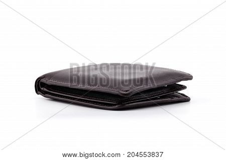 Old Brown Wallet Isolated On White Background - Clipping Part
