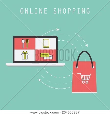 Online shopping. Business concept. Vector illustration. Flat art style