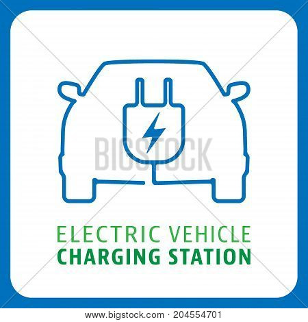 Electric vehicle charging station symbol. Electrical car icon. Vector illustration.