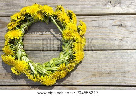Wreath Of Yellow Spring Flowers - Dandelions On A Wooden Background, Romantic Spring, Card
