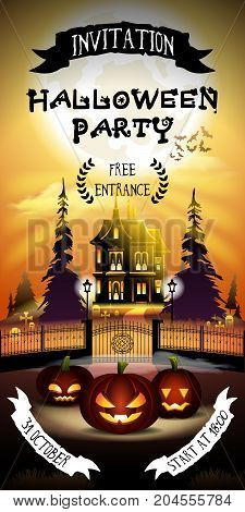 Halloween invitation with free entrance. Pumpkins on graveyard in horror moonlight.
