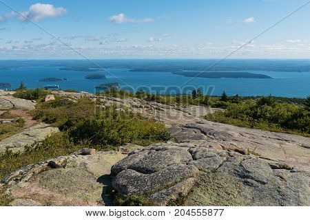Looking down from the summit of Cadillac Mountain Acadia National Park Bar Harbor Mount Desert Island Maine