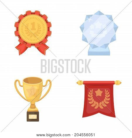 An Olympic medal for the first place, a crystal ball, a gold cup on a stand, a red pendant.Awards and trophies set collection icons in cartoon style vector symbol stock illustration .