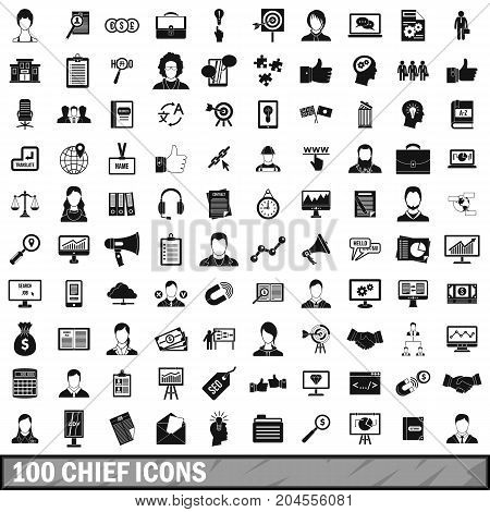 100 chief icons set in simple style for any design vector illustration