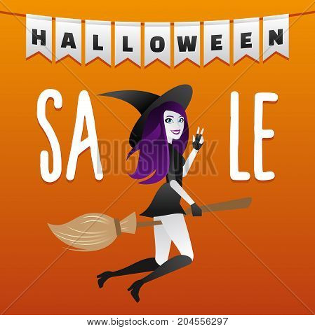 Halloween sale poster. Discount sticker with sexy elegant witch shopping.