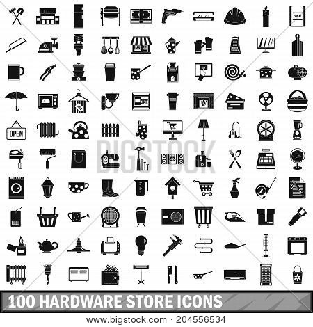 100 hardware store icons set in simple style for any design vector illustration